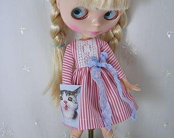 Blythe Doll Dress,  Blythe Dress. Long Sleeves, Sreips Cat Pocket