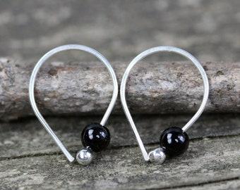 Black onyx earrings / sterling silver earrings / gift for her / silver dangle earrings / tiny earrings / jewelry sale / black stone hoops