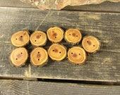 3 wooden buttons- Juniper, handmade buttons (2048)