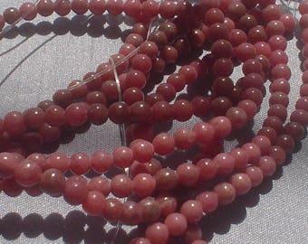 natural gemstone rosy pink rhodonite smooth round bead 4 mm / 15 inch