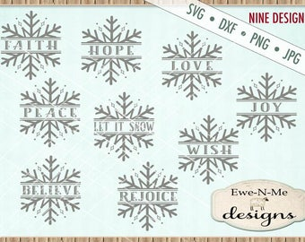 Snowflake svg bundle - Split Snowflake svg - Christmas svg bundle - Believe Snowflake svg - Snowflake Bundle Commercial use svg dxf png jpg