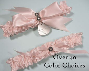 Personalized Wedding Garter Set in Satin with Swarovski Crystals - Choose from Over 40 Color Choices