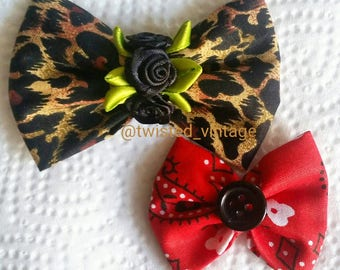 Leopard Print Red Paisley Roses Bow Set
