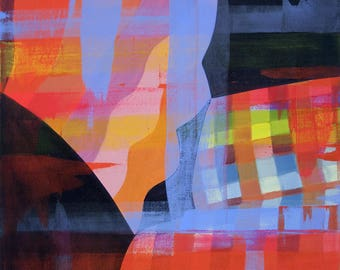 Large Abstract Patterned Painting Striped Plaid