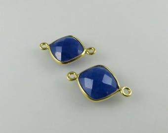 18mm Lapis Lazuli Bezel Connector, Diamond Faceted, Gold-Filled - Matching Pair (CN129)