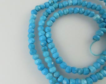 2mm - 3mm Faceted Turquoise Rondelle Beads - One Full Strand