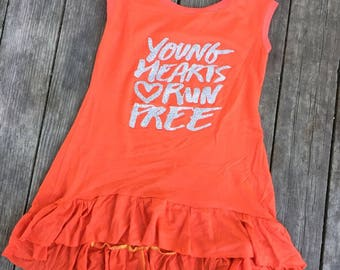 Orange Hi-Low Tank top with bottom ruffle for girls, layering tank, Young hearts run free
