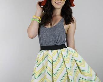 Vintage CHEVRON Skirt,  Diy 70s  skirt, Handmade Yellow Green Skirt, Womens skirt, Diy chevron stripe Skirt, retro skirt, ooak skirt