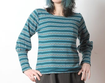 Teal green sweater, Patterned stripes sweater with leg-of-mutton sleeves, Womens sweaters, MALAM, size UK 12