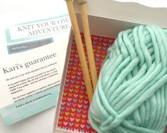 DIY knitting kit - bulky yarn - knitting kit - Free shipping
