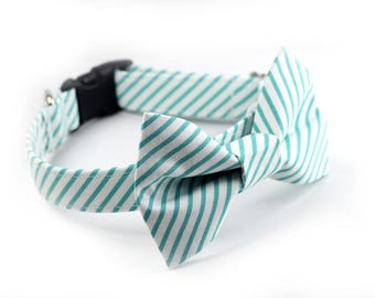 Mint Green Bow Tie Collar, Wedding Dog Collar, Dog Bow Tie - Thin Mint