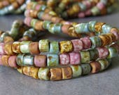 NEW Picasso Pink Medley 6/0 Aged Tile Czech Glass Seed Bead Mix : 20 inch Strand 4mm Pink Bead Mix