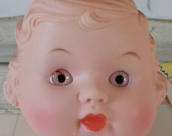 Vintage / Plastic Doll Head / Young Girl / Charming Face