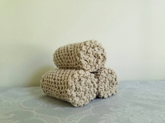Natural Cotton Dishcloth Trio