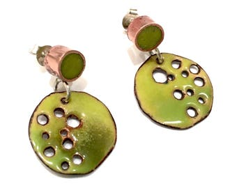 Enamel/Copper/Resin Earrings Asymmetrical Green Discs with Holes Posts Studs