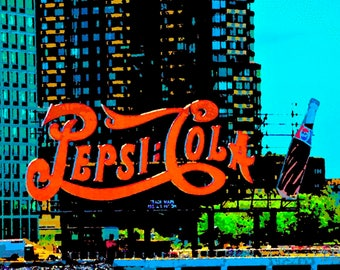 Pepsi Cola Sign in Queens. New York City canvas wall art pop art