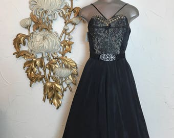 1950s dress party dress strapless dress size medium black dress Vintage dress lace illusion pin up dress full skirt dress