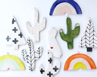 Handmade Ceramic Ornaments Cactus Ornament Rainbow Ornament
