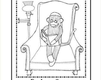 Super Summer Sale Personalized Ex Libris Bookplate Rubber Stamp Sock Monkey Reading Original Art C10 featured artist