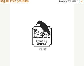 Xmas in July Personalized Big Daddy Crow Ex Libris Bookplate Rubber Stamp C03
