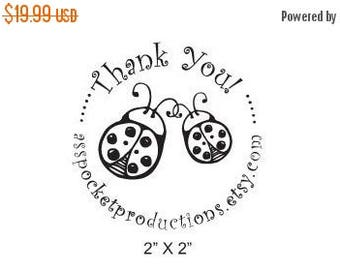 Xmas in July Custom Rubber Stamp Mom and Baby Ladybug Thank You B27