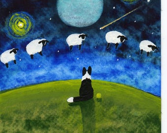 Border Collie Dog Outsider LARGE Folk Art Print Todd Young COUNTING SHEEP