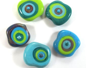 Handmade lampwork bead  glass, Lampwork beads. squeezed beads, dots, Turquise green (5) SRA