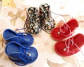 RESERVED Blue Red Spring Flower Leather Doll Lace Up Boots For LittleFee Handmade By MizuSGarden