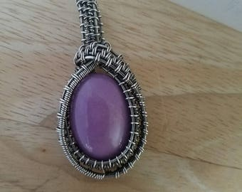 Phosphosiderite Pendant Cabochon Wire Wrapped in Sterling Silver Wire Pendant Wire Wrapped Jewelry Handmade Fantasy Amulet Medallion