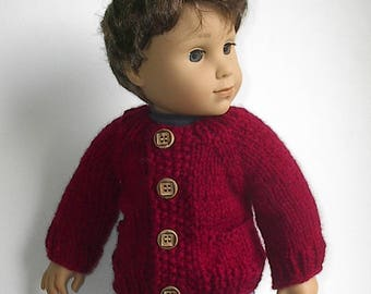 "18"" Boy Doll Clothes Knit Cranberry Red Cardigan Sweater with Pockets Handmade to fit AG Boy Doll Logan and Other similar dolls"