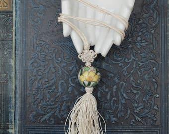 Vintage Cloisonne Pendant Necklace Knotted Silk Tassel