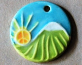 Peace is Rising - Large Hand painted Ceramic Pendant with Mountain Landscape and Peace Sun - Hoppie Style with Love and Good Vibes