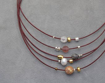 Layered leather multistrand necklace, mixed metals, pearl, boho statement necklace, multistrand choker, office jewelry