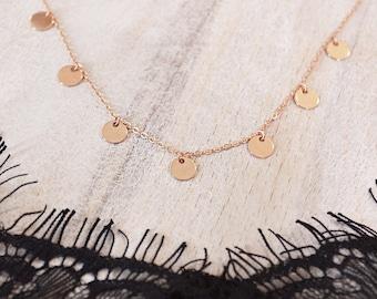 Boho Rose Gold Disc Necklace // Elegant Minimalist Bohemian Layering Necklace // Summer Layered Charm Necklace