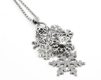 Snowflake Necklace for Winter with Crystal Snowflake charms in stainless steel for women