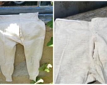 Vintage Antique French 1900/1920s Edwardian  cream long Johns caleçon  pajama underwear