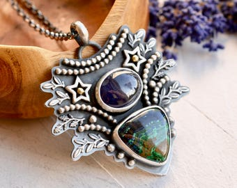 Blue Sapphire Pendant Necklace, Silver Azurite Necklace, Botanical Silver Necklace, Unique One of a Kind Pendant, Unique Handmade Jewelry