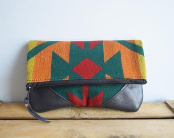 Colorful Leather Fold-over Clutch