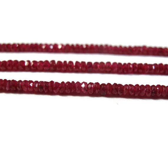 20 Vibrant Red Ruby Beads, Tiny Beauties, 3mm Faceted Rondelles, 20 Count, Jewelry Supplies, July Birthstone (Luxe-Ru5c)