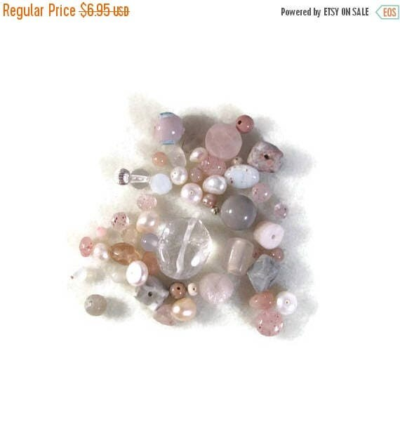 Summer SALEabration - Gemstone Bead Mix, Pink, White, Cream Gemstone Grab Bag, 50 Beads for Making Jewelry, Assorted Shapes and Sizes (L-Mix