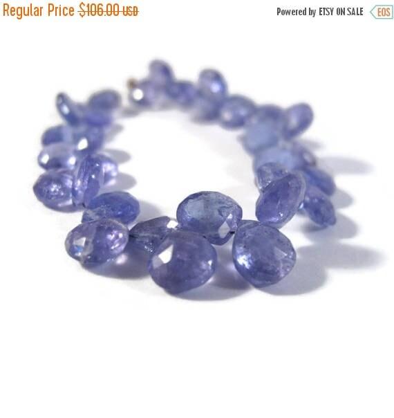 Summer SALEabration - Natural Tanzanite Beads, Stunning Blue Gemstones, 4.5 Inch Strand of Gemstone Briolettes, Top Drilled Stones, 6x6mm -