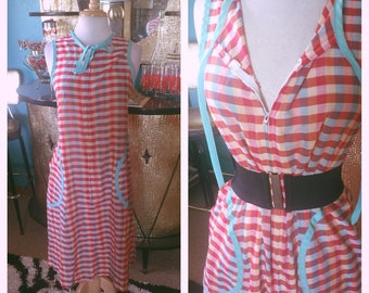 Vintage 1950s Dress red plaid sundress house day dress 50s M L Rockabilly Pinup