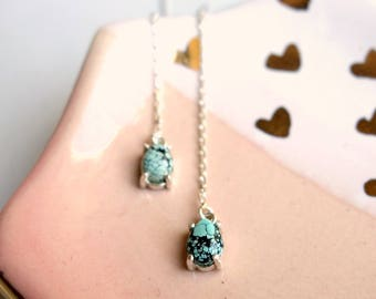 Sterling Silver Turquoise Ear Threads - Turquoise Drop Earrings