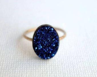 Midnight Blue Drusy Ring on 14k Gold-Fill Band