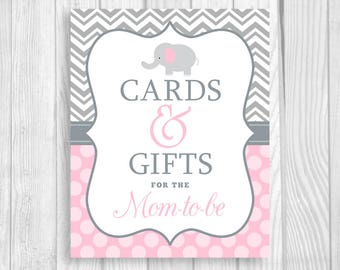 Cards and Gifts for the Mom-to-Be 8x10 Printable Elephant Baby Shower Sign in Gray Chevron and Light Pink Polka Dots - Instant Download