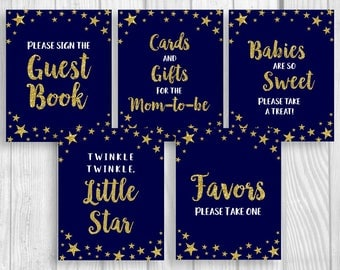 Twinkle Twinkle Little Star Printable 8x10 Baby Shower Sign Package - Midnight Blue Gold Glitter - Gender Neutral - Instant Download