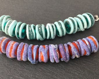 1 Pair or 10 Rustic Embraced Rounds * Teal Green/Turquoise * or *Orange/Purple* Handmade Lampwork Bead Set Karin Hruza