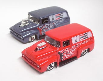 A Pair of 1956 Ford F-100 Panel Trucks : Hot Rod, Man Cave, Tool Box, Refrigerator, Magnets