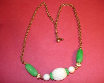 Jewelry- Costume Jewelry- Necklace -Teen -Boy Girl - Green White Lucite Beads on Gold Toned Chain