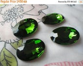 On Sale 25% Off Spring Green 25x18mm Oval Crystal Gems Foiled 4 Pcs